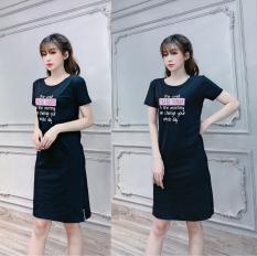 Đầm suông nữ xẻ tà thun thái xịn co giãn tốt form dài