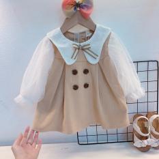 Váy thô màu kem tay pha ren bé gái