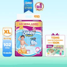 [GIẢM 50k ĐƠN 888K] [TẶNG KHAY ĂN ĐA NĂNG THÔNG MINH] Tã/bỉm quần Bobby gói Mega Jumbo XL102 (12 – 17kg)