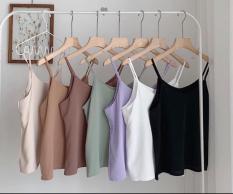 Áo 2 dây nữ cổ đổ họa tiết trơn basic chất đũi lụa mềm mịn siêu mát form rộng nhiều màu hot trend