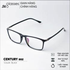 Kính cận nam nữ 3H.Glasses nhựa dẻo, mắt kính gọng vuông phù hợp với nhiều khuôn mặt, kính Hàn Quốc có độ kính gọng nhựa mắt trong suốt kính thời trang giả cận CENTURY 802