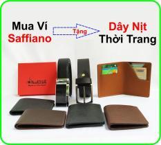 Ví Nam Da Bò Saffiano Cao Cấp Shaka (Nâu – Đen) sk2212