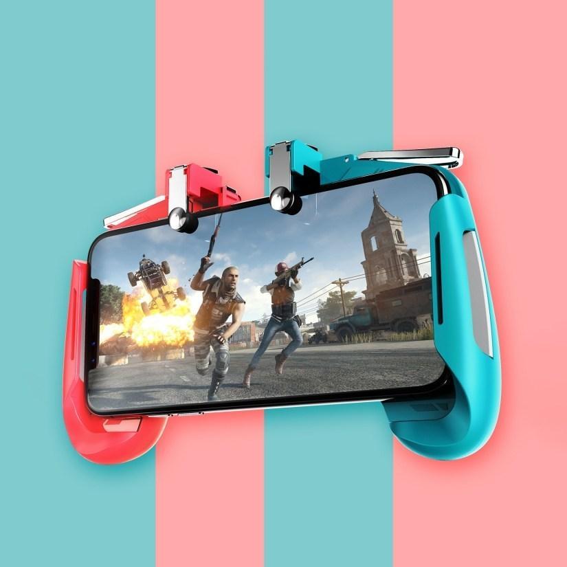 Tay cầm chơi game trên điện thoại kèm nút trigger chơi PUBG mobile ROS FREEFIRE AK16 - Tay Cầm Chơi...