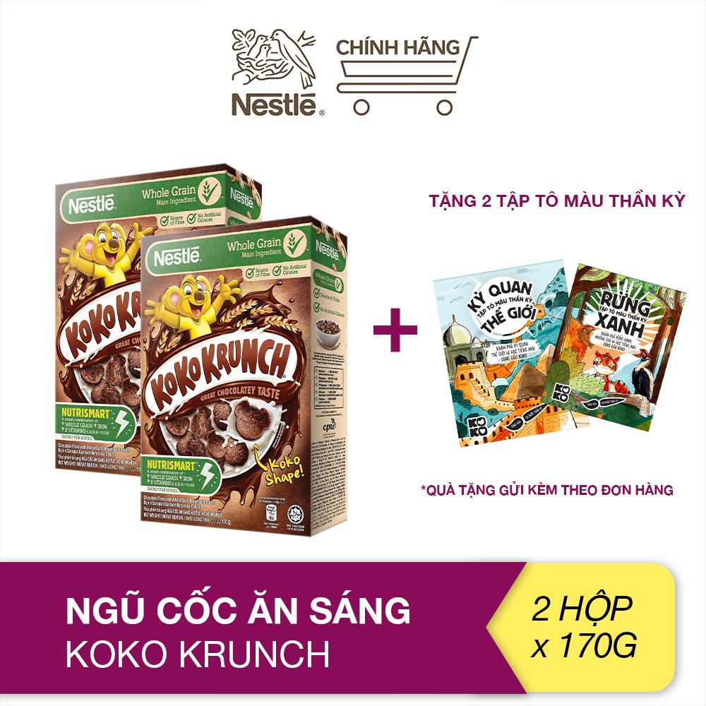 [Tặng tập tô màu] Combo 2 hộp ngũ cốc ăn sáng Koko Krunch (Hộp 170g)