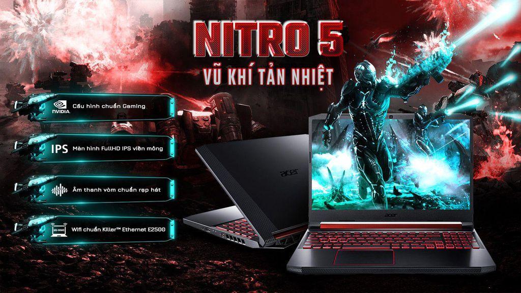 ( MỚI FULLBOX BẢO HÀNH HÃNG ĐẾN THÁNG 9 - 2021) Laptop Acer Nitro AN515 54 71HS i7 9750H/8GB/256GB/4GB GTX1650/Win10
