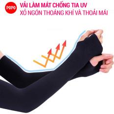 Bao tay chống nắng xỏ ngón (1 đôi) POPO găng tay chống nắng cản tia UV, chất vải làm mát mềm mại thoáng khí