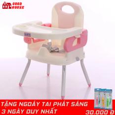 Ghế ăn dặm gấp gọn kèm chân sắt, mặt bàn có các hốc riêng biệt, dây đai an toàn tiện lợi cho mẹ và bé