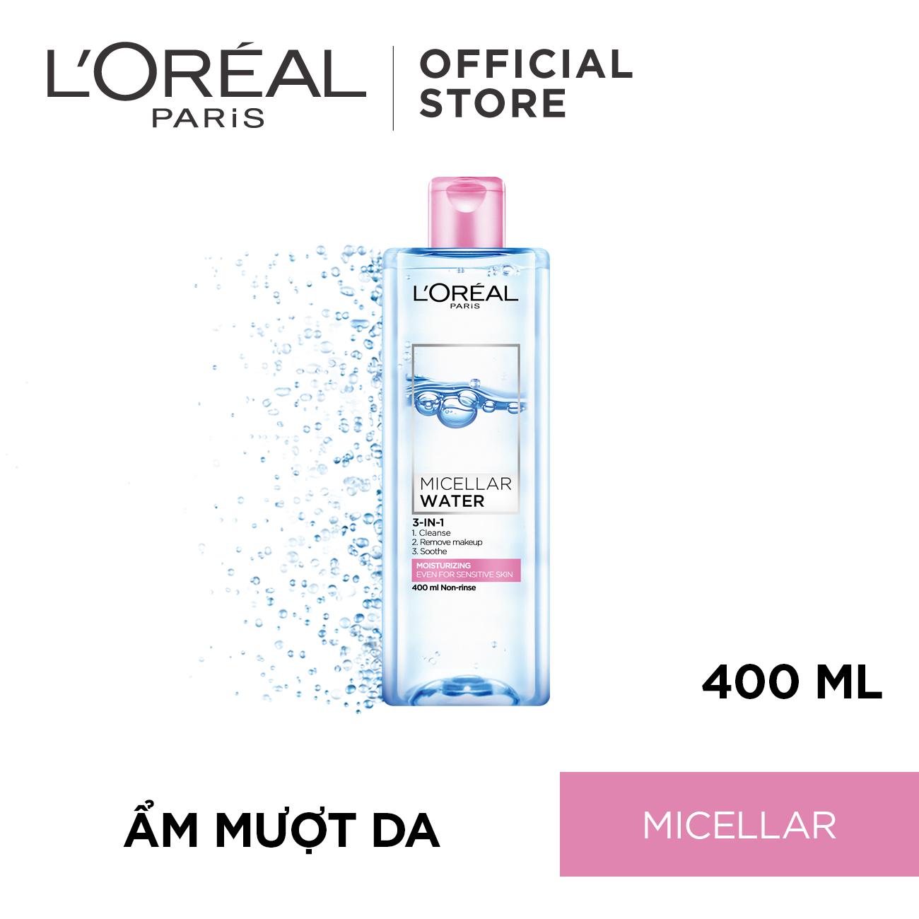Nước tẩy trang dưỡng ẩm L'Oreal Paris Micellar Water 400ml (màu hồng)