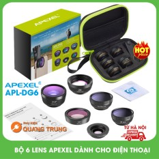Bộ ống kính,lens chụp ảnh apexel dành cho điện thoại,6 ống kính,góc rộng,mắt cá,macro,phù hợp mọi loại máy điện thoại