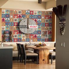 [NHIỀU MẪU] Mua 3 tặng 1 – Decal gạch bông hoa văn thổ cẩm, dán bếp dán tường quầy bar