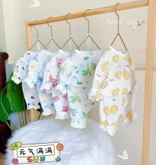 Bộ dài tay cotton giấy cài vai cho bé sơ sinh hàng đẹp – BO6