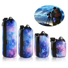 Lens Case Protective Pouch Bag, DSLR Camera Lens Neoprene Storage Set for Sony, Canon, Nikon, Panasonic, Individual Waterproof Drawstring Sacks with Snap Hook, S+M+L+XL 4 Pack, Mysterious Starry Sky. Bộ 4 túi đựng ống kính hiệu XCSource