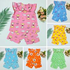 Combo 3 bộ quần áo Tole, Lanh 2 da mềm, mịn, mát cho bé gái – Mẫu cổ lá sen ( giao các màu giống hình)