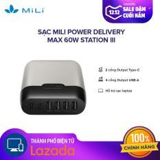 [HÀNG CHÍNH HÃNG – 1 ĐỔI 1 24 THÁNG] Sạc Mili Power Delivery Max 60W Station III – Input: AC 100 – 240V/1,7A(max)/ 2 cổng Output Type-C, 4 cổng Output USB-A:DC 5V/2,4A(max) – Hỗ trợ sạc Laptop
