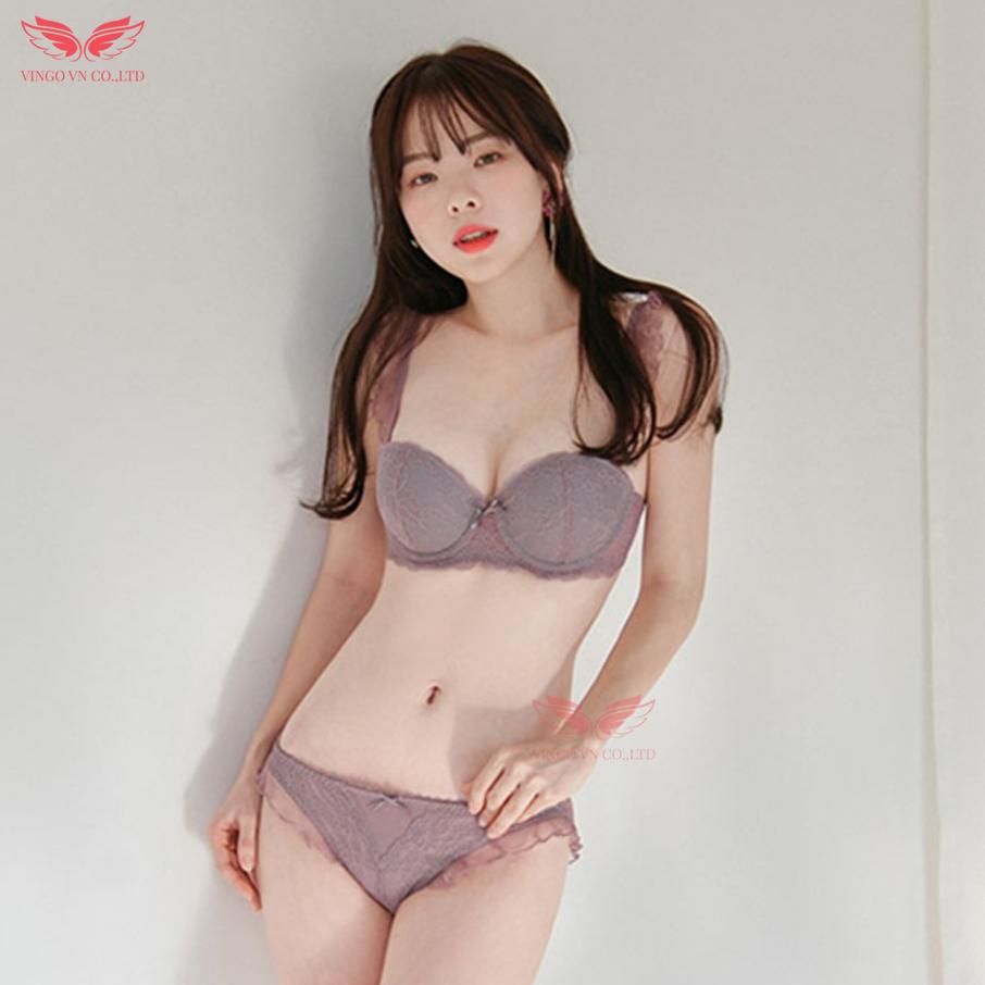 Bộ đồ lót sexy nữ ren hoa cánh tiên cup ngang đệm vừa kèm mút rời gợi cảm Vingo – VNGO S053