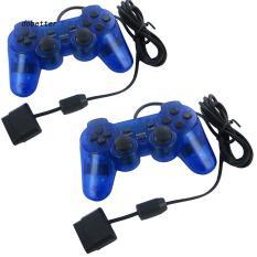 Tay cầm PS2 xanh dương trong suốt có rung PlayStation PC – tương thích với PS1