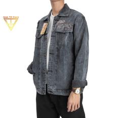 Áo khoác jean unisex nam nữ TH Store thêu Tokyo áo khoác bò cá tính chống nắng ulzzang
