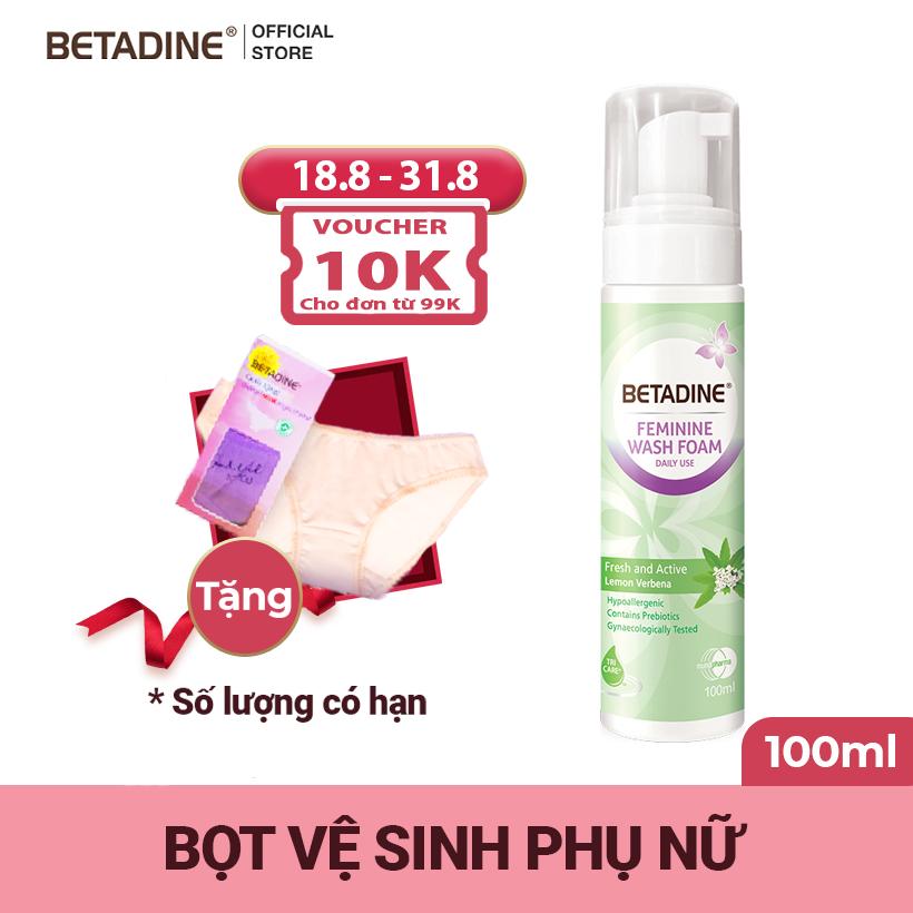 [Tặng quần lót cao cấp] Bọt vệ sinh phụ nữ Betadine Fresh-Active Lemon – chai 100ml
