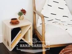 [MẪU THIẾT KẾ] Kệ Tab Tủ Đầu Giường Mini Hình Vuông Thanh Chéo Gỗ Thông Tự Nhiên Thiết Kế Độc Đáo