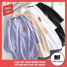 Áo thun nữ form rộng tay lỡ hot Quả Dứa Freesize 40-70kg nam nữ đều mặc được Molly Fashion (nhiều màu)