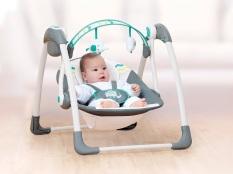 Ghế rung xích đu cao cấp cho bé nằm Mastela MSTL6503-04 khung sắt bọc đệm có nhạc và đồ chơi treo cũi, điều khiển từ xa