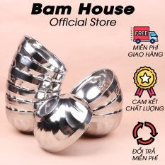 Bộ 10 chén inox Bam House 2 lớp cách nhiệt 12cm cao cấp C02 – Bam House