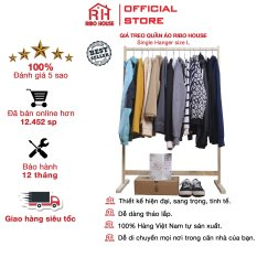 Giá treo quần áo RIBO HOUSE nội thất gia đình phong cách hàn quốc – size Lớn gỗ tự nhiên RIBO1