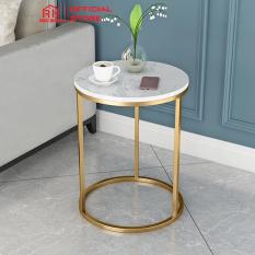 Bàn trà kệ tab mặt đá RIBO HOUSE khung kim loại sơn tĩnh điện nội thất phòng khách tab đầu giường phòng ngủ RIBO50