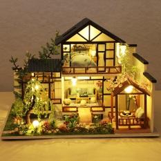 Mô hình nhà DIY Doll House Bamboo Creek Garden P010-B Kèm Mica Chống bụi, Bộ dụng cụ, Keo dán và Bộ phát nhạc
