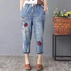 Quần jean baggy nữ lưng thun bigsize thêu hoa danh cho người 45kg đến 90kg