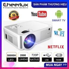 Máy chiếu mini android tivi box 6.0 projector Cheerlux C9 HD 1280×720, kết nối WIFI, Bluethooth, độ sáng 2800 lumens, phù hợp thay thế tivi giá rẻ 100 inch trong phòng ngủ