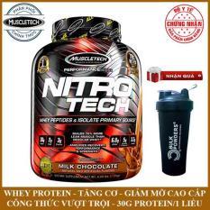 [TẶNG BÌNH LẮC] Sữa tăng cơ cao cấp Whey Protein Nitro Tech của MuscleTech hộp 1.8kg hỗ trợ tăng cơ giảm mỡ, tăng sức bền sức mạnh vượt trội