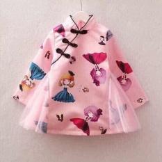 Váy đầm xòe hình búp bê cổ trụ vải phi phối ren cho bé gái từ 12kg đến 28kg( màu đỏ, hồng)