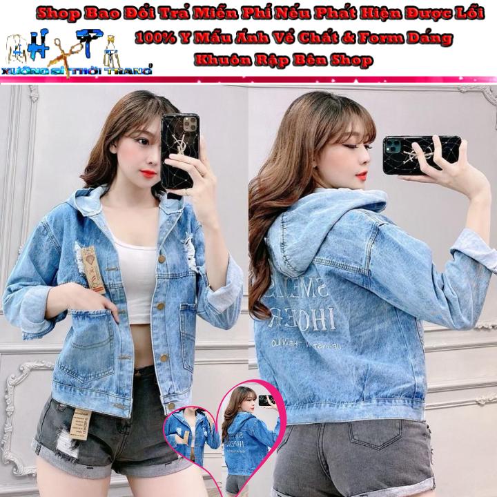 Áo Khoác jean Nữ có nón/mũ Cao Cấp màu xanh thêu chữ cực xinh Dày Mịn túi to Thời Trang 2020-Hàng Có Sẵn