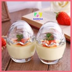 Hũ thủy tinh hình trứng làm sữa chua, bánh flan và caramen cho bé AD05
