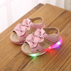 Sandal cho bé gái 2 nơ xinh xắn có đèn led hàng cao cấp