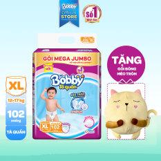 [Tặng gối mèo bông] Tã/bỉm quần Bobby siêu thấm khô thoáng Mega Jumbo XL102 (12-17kg) – 102 miếng