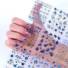 Set 10 tấm decal dán móng (khoảng 30 hình/tấm) – sticker trang trí móng nail màu xanh nhũ siêu đẹp – tự làm móng tại nhà đơn giản, dán móng tay 3D, miếng dán trang trí móng tay nghệ thuật, nails wraps, dán móng tay giả, phụ kiện nail