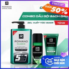 Combo dầu gội sạch gàu Romano Classic 650gr & xịt toàn thân Classic 150ml tặng gel vuốt tóc Classic siêu cứng150gr