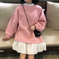 Váy nỉ Ulzang Hàn Quốc phối sơ mi