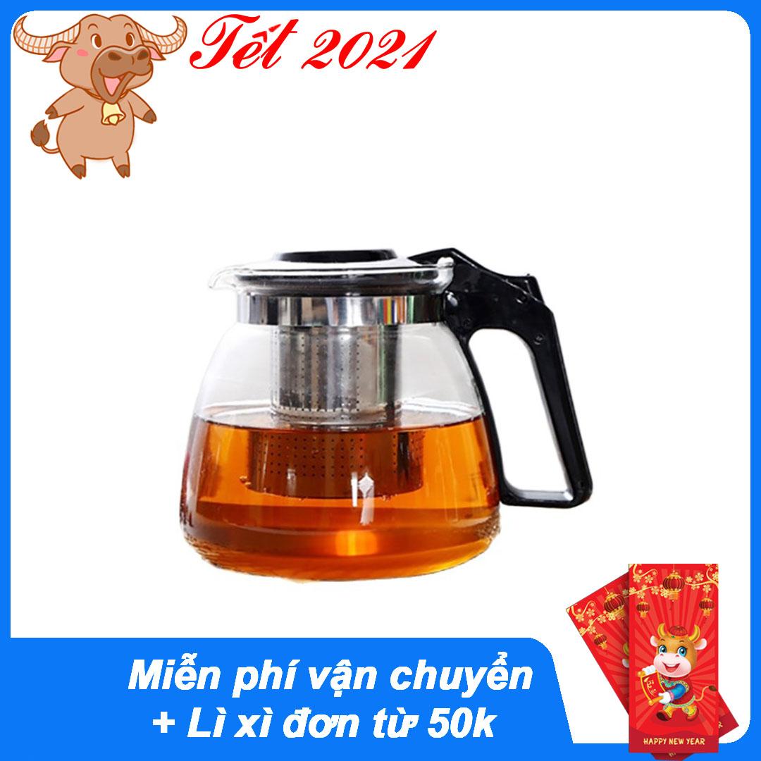 Bình trà - Bộ ấm trà thuỷ tinh có túi lọc INOX dung tích 1000ML + tặng kèm 4 LY...