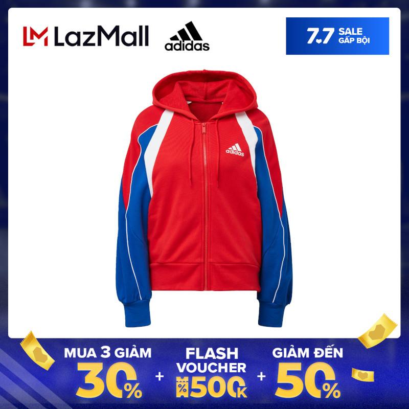 adidas NOT SPORTS SPECIFIC Áo hoodie Colorblock có khóa kéo dọc thân Nữ Màu đỏ FS2455