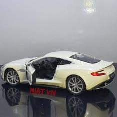 Xe mô hình Aston Martin Vanquish 1-24 Welly (Full hộp) 19cm kim loại mở 2 cánh và capo trước – màu trắng