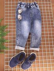 Quần jean dài bé gái- wash xám