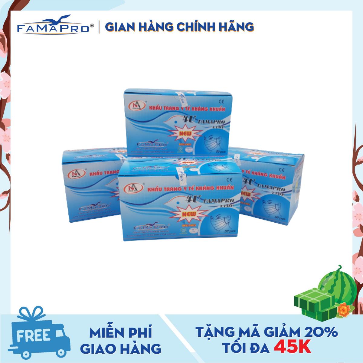 Combo 4 hộp khẩu trang y tế 4 lớp kháng khuẩn Famapro 4U (50 cái / Hộp)