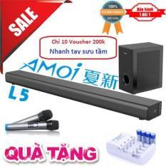 Soundbar Karaoke cao cấp 5.1 Amoi-L5 có cục trầm cao cấp Kèm 2 Micro không dây – Hát Karaoke cực đỉnh – Tặng bộ pin sạc