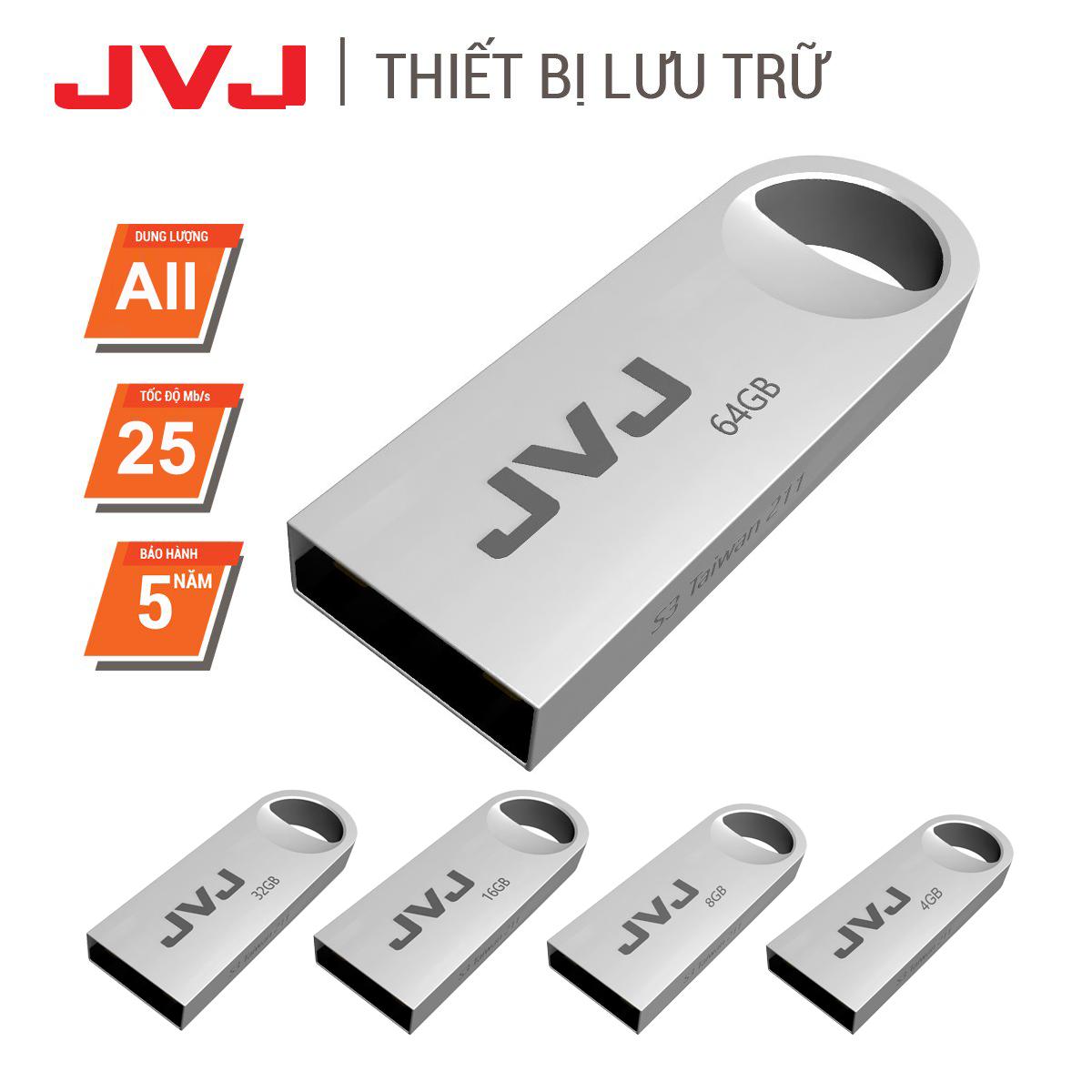 USB 64Gb/32Gb/16Gb/8Gb/4Gb JVJ S3 siêu nhỏ vỏ kim loại – USB 2.0, tốc độ upto 30MB/s siêu nhỏ chống sốc chống nước, thiết kế vỏ nhôm nhỏ gọn, Flash Drive đầu kim loại siêu nhẹ kết nối nhanh Bảo hành 2 Năm 1 đổi 1 chính hãng