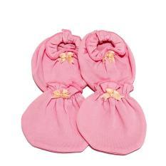 Combo bao tay và bao chân sơ sinh màu hồng