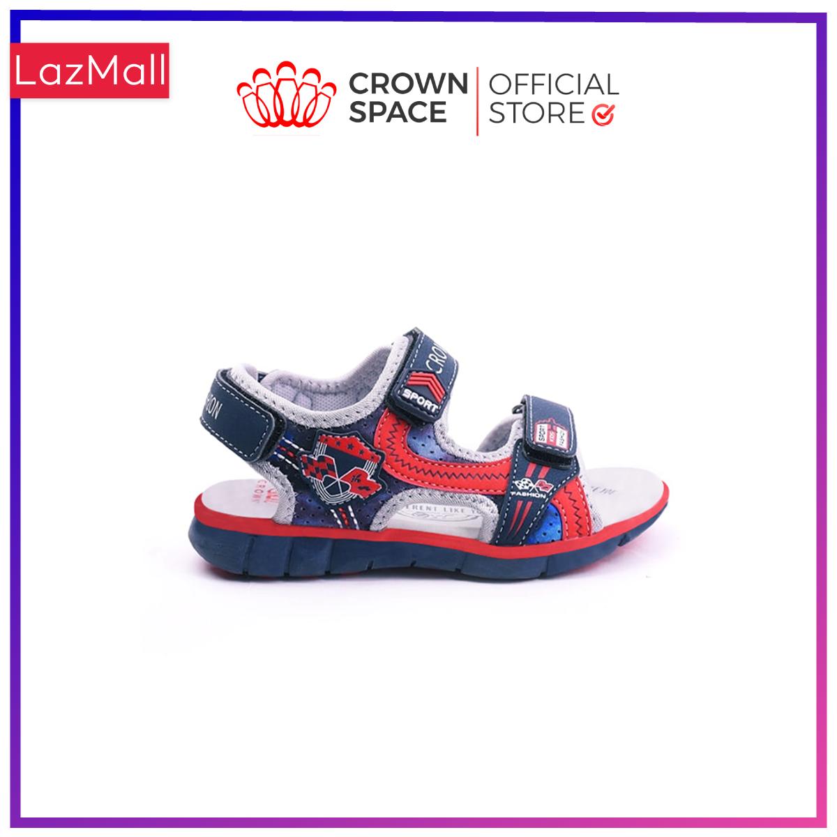 Dép Quai Hậu Bé Trai Đi Học Chính Hãng Crown Space UK Sandals Trẻ em Xăng Đan Cho Bé Trai Từ 2 đến 14 Tuổi Size 26-35 Chất Liệu Cao Cấp Nhẹ Êm Thoáng Mát An Toàn Cho Bé CRUK529