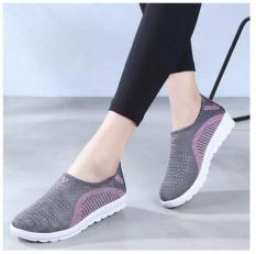 Giày lười nữ phong cách êm chân thoáng khí – chữ V (full hộp) -màu ghi, tím, hồng – Size 35 đến 40 – V124